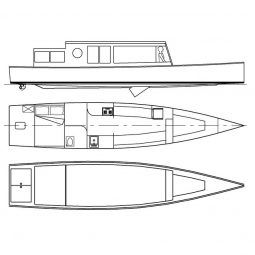 TC35 minimal liveaboard lake and river cruiser. Very economical. storerboatplans.com