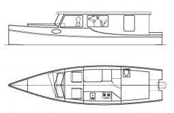 Venezia Riverboat Cabin Cruiser, minimal sleep aboard. Flexible interior. storerboatplans.com