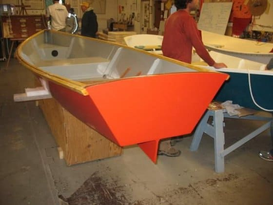 storer plywood rowboat. Rowing version of Goat Island Skiff. built by class at the compass project. storerboatplans.com