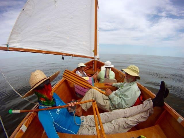 Goat Island Skiff carrying 4 sails well - storer boat plans