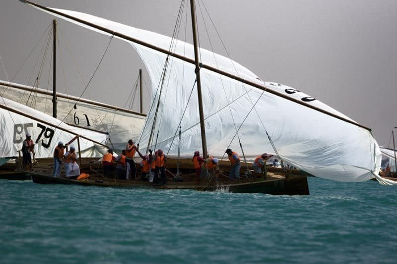 Dhow racing starts with puling up sails. Showing traditional latten and lug rigs can really go. storerboatplans.com