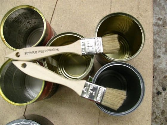 cans for volume measuring of epoxy. Cut down brushes to allow application of pressure: storerboatplans.com