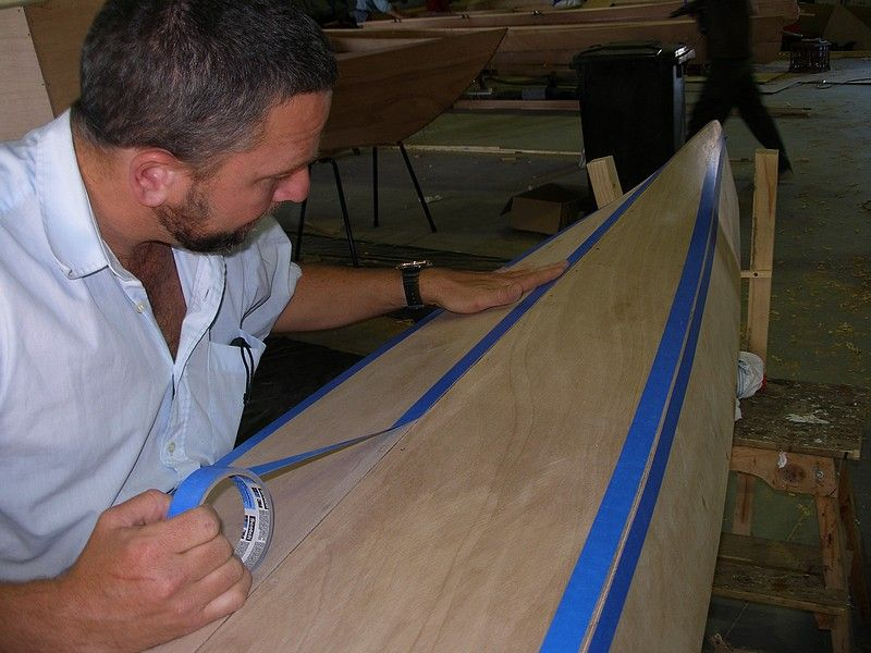 masking before filling chines with epoxy filler: storerboatplans.com