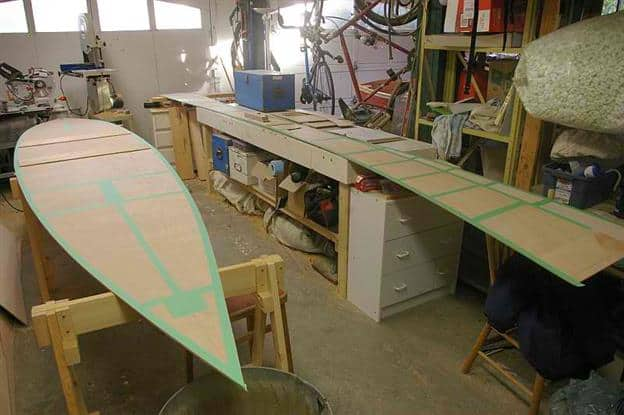 masking ready for precoating plywood panels with epoxy is laborsaving: storerboatplans.com