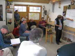 Michael Storer giving a talk at Clint Chase Boatbuilder.