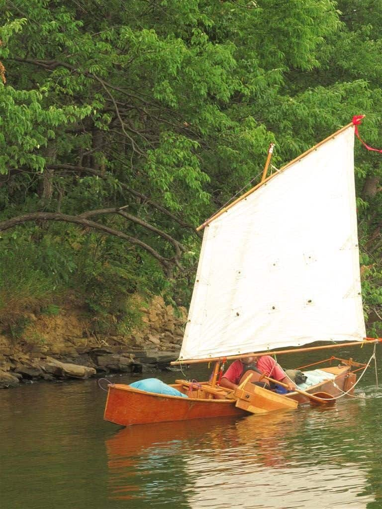 Quick Canoe sails with our drop in Sailing Rig. storerboatplans.com