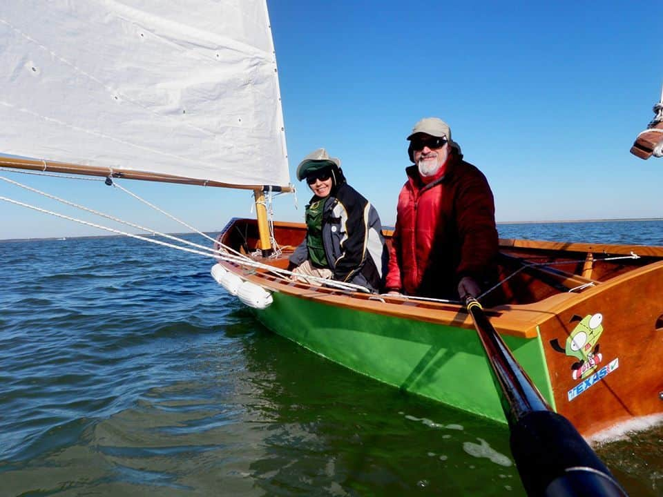 John and Rosa Goodman in the Texas 200 mile sailing event. storerboatplans.com