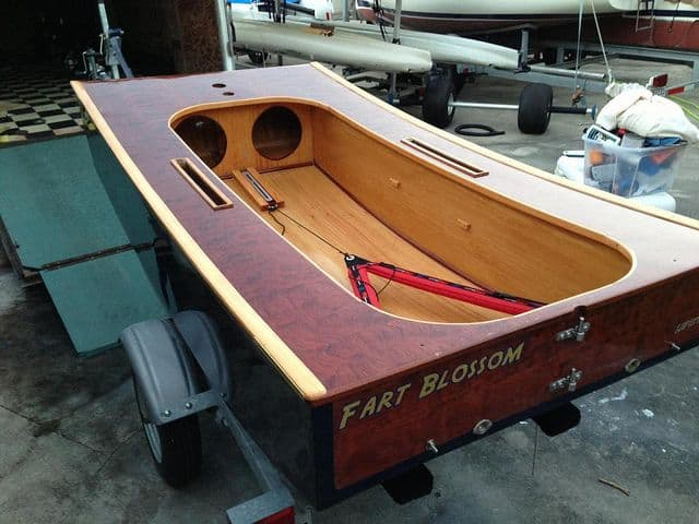 Mark Milam's gorgeous wooden Duck - an OzRacer RV sailboat - Storer Boat Plans in Wood and Plywood