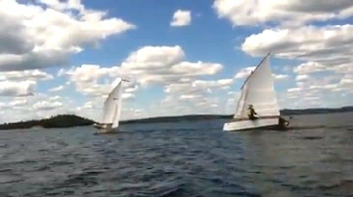 Goat Island Skiff cat rig and ketch rig video - easy sailing speed.