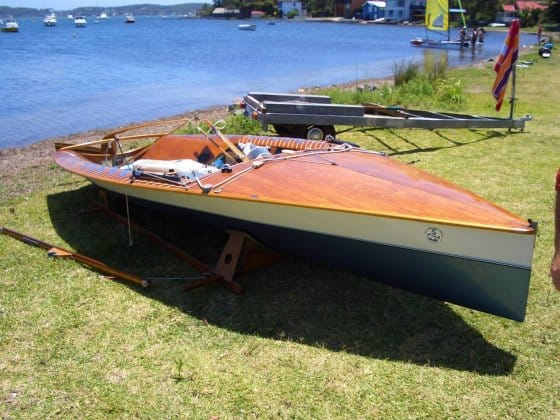 Tornado - composite NS14 by Malcolm Eggins - composite hull, inlaid plywood deck
