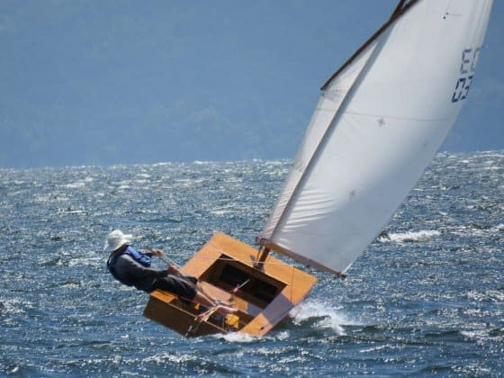 Oz Goose Square Boat in really strong wind. storerboatplans.com
