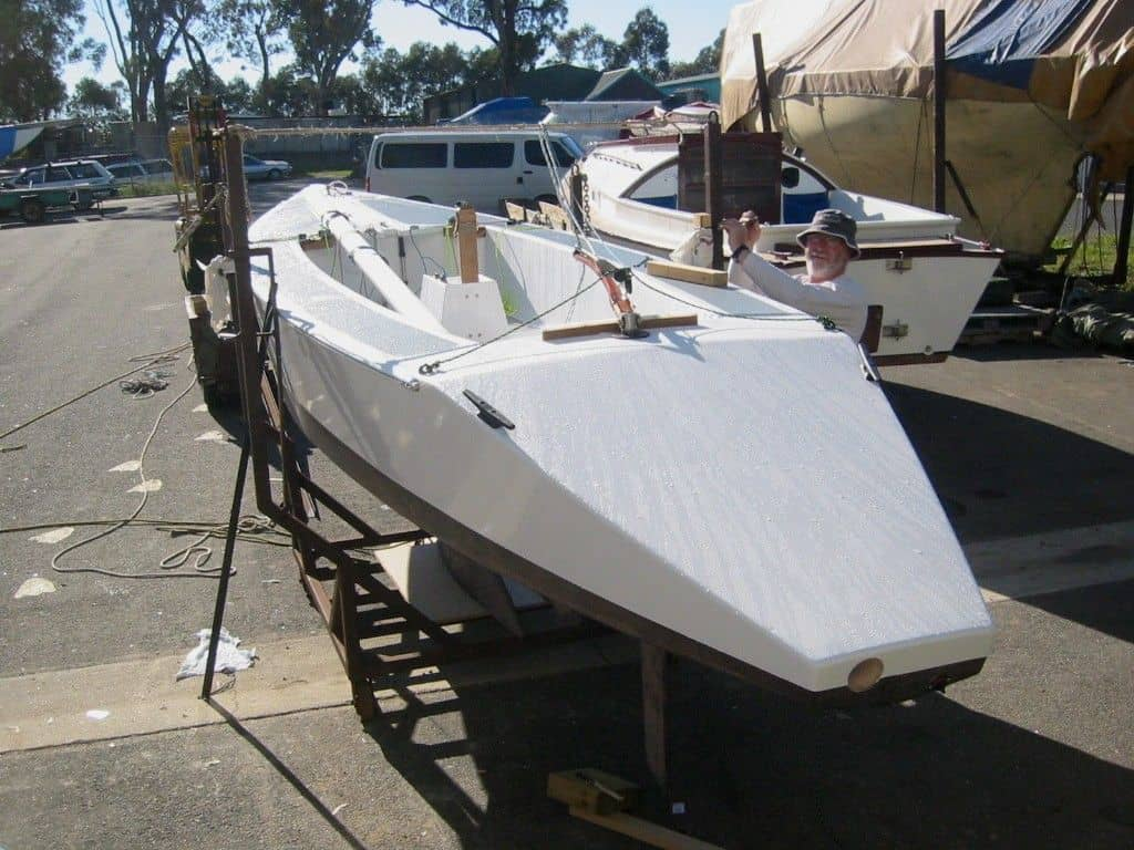 Orange boat after redecking. storerboatplans.com
