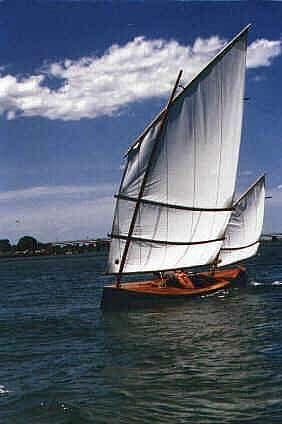 Photo of Beth Sailing Canoe taken at Tuncurry. storerboatplans.com