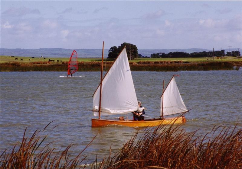 Beth reefed Sailing in Clayton Bay South Australia. Sailing canoe by storerboatplans.com