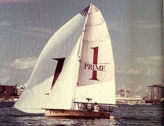 Prime Computers 18ft skiff. Balsa strip by Bethwaite