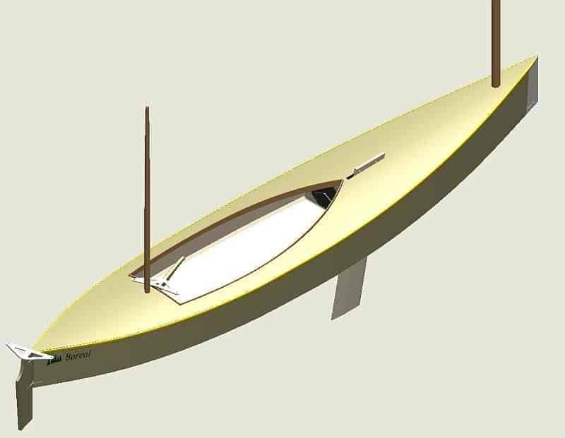 Beth sailing canoe computer render. by Andrew Rotch. storerboatplans.com