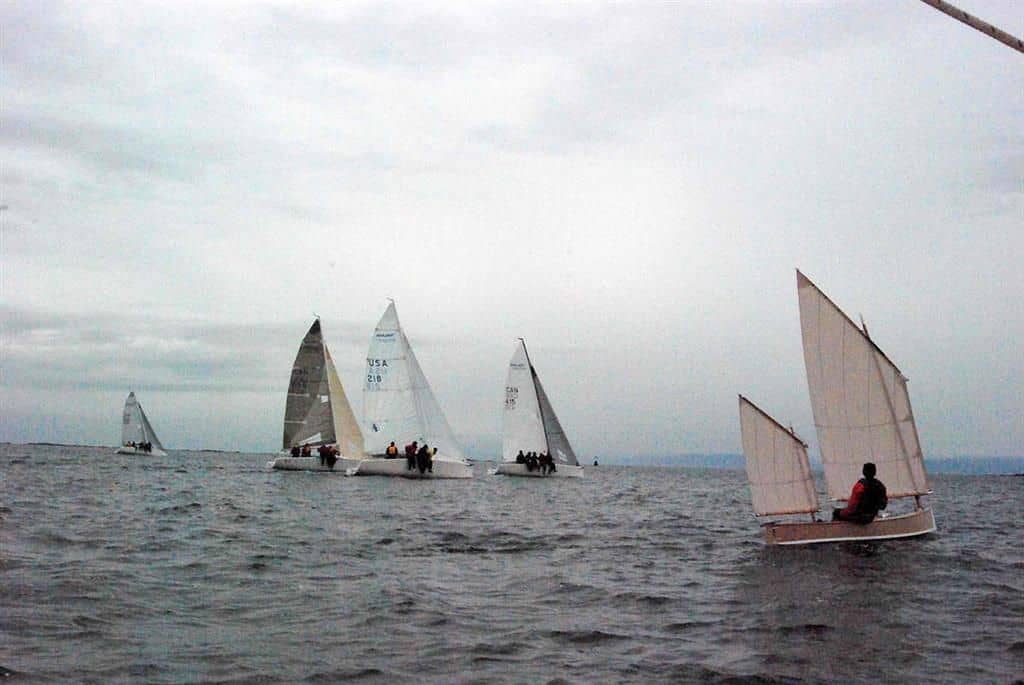 Andrew Barclay sailing his Beth in British Columbia. A sailing canoe on the ocean. storerboatplans.com