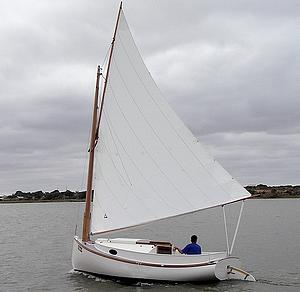 Fenwick Williams Catboat built in Cedar strip: storerboatplans.com