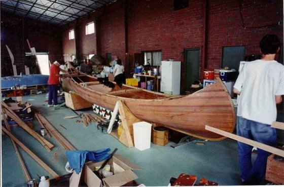Overall view in summer school class: 24 ft steam canoe homebuilt by roger in Adelaide: storerboatplans.com