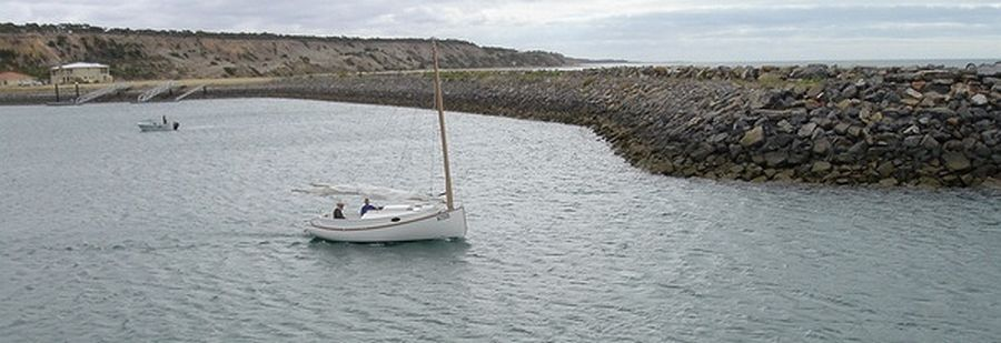 Fenwick Williams Catboat built in strip planking at Port Vincent Boat Show