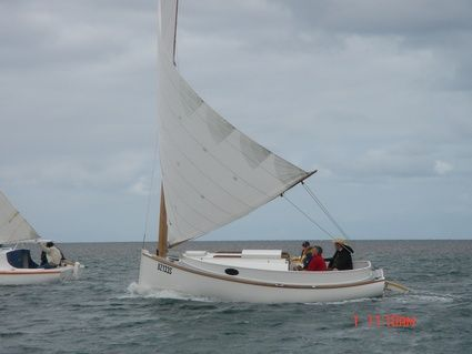Strip planked Fenwick Williams Catboat at Port Vincent Boat show - Storer Boat Plans in Wood and ...