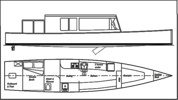 Liveaboard or holiday riverboat or canal boat with outboard power - storerboatplans.com