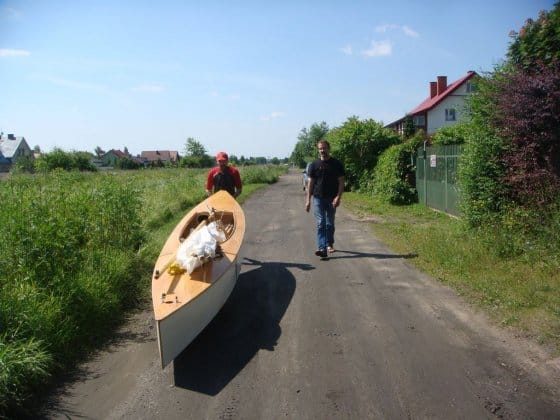 Canoe trolley Beth sailing canoe Poland - easy to roof rack