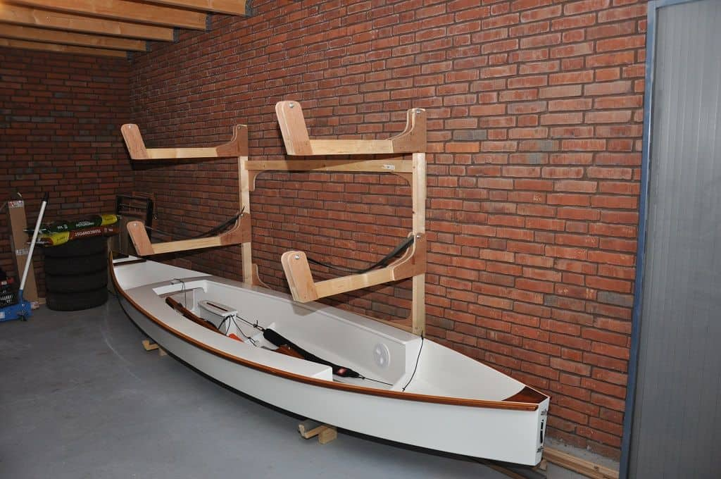 Diy Kayak Rack >> Build a Triple Canoe Storage Boat Rack for Kayaks and SUPs - Storer Boat Plans in Wood and Plywood