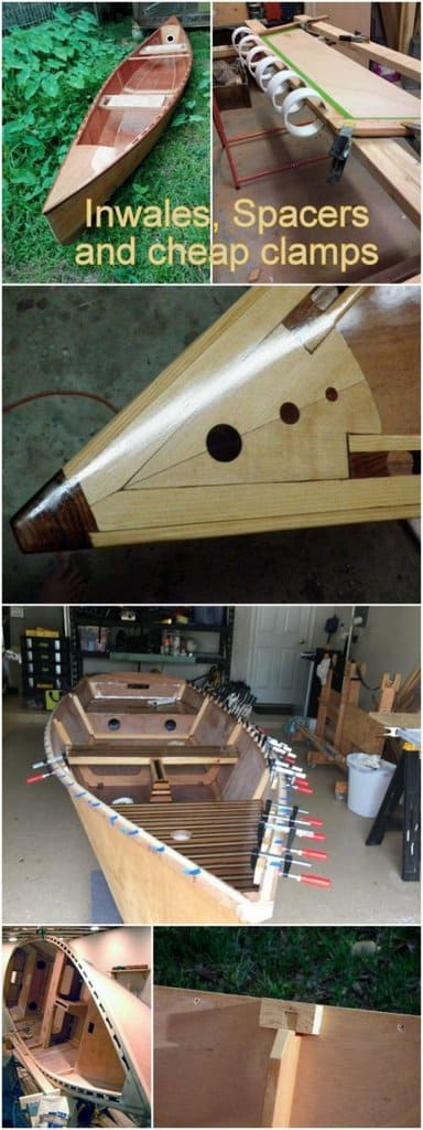 boat building tips - inwales, spacing and cheap clamps