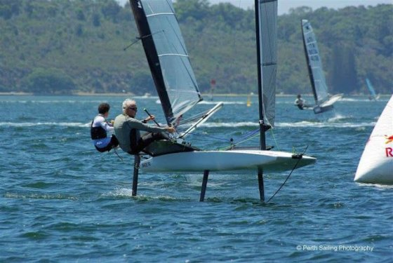 Jim French foiling scow moth - Foiling week 2018