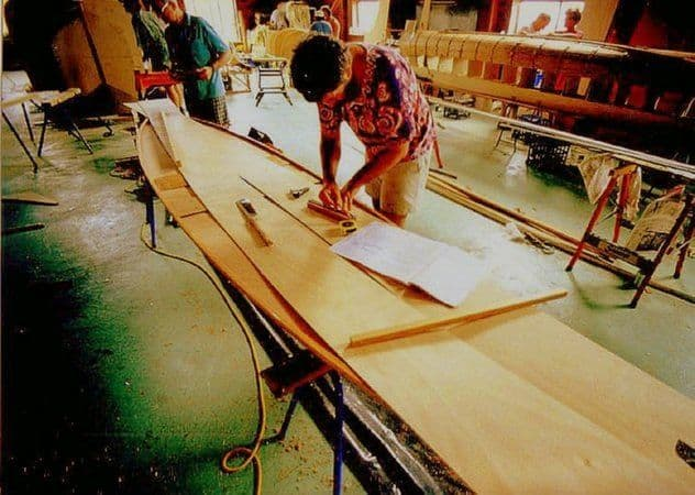 Building stages of simple plywood Beth Sailing Canoe - storerboatplans.com