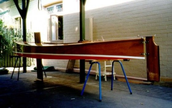 Painted bottom and boot top line Kanangra Beth sailing Canoe - storer boat plans